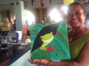 A happy Rose and her Belizean tree frog.