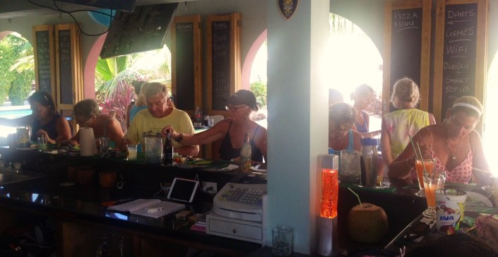 Class in session at Feliz sports bar in north San Pedro on Thursday afternoon.