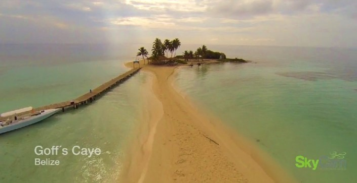 Screen grab of Geoff's Caye from a three-minute high def video of Belize shot with drones.