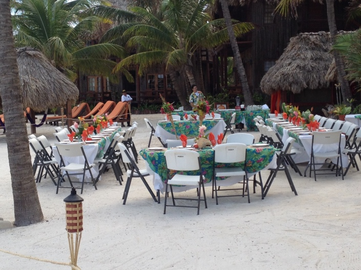 Set-up for a Thursday night Bowen-Tully pre-wedding party? These tables were on the waterfront of Ramon's Village, a local institution and a conch shell-toss from the Bowen home and Island Academy.
