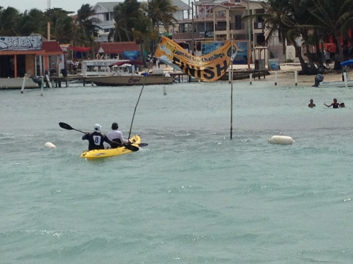 Choppy seas are evident as this team rounds municipal pier and heads for the finish line.