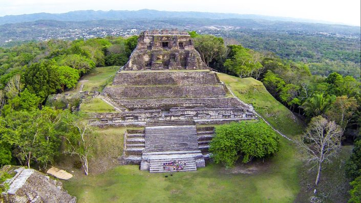 Here is a drone's eye view of the Mayan ruins Xunantunich, between the Guatemala border and San Ignacio in Belize.