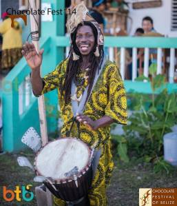 Excellent example of a Garifunian drummer fn Punta Gorda where chocolate and rhythm blend naturally into a brew called happiness.