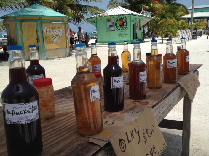 Homemade wine for sale on the main avenue in Caye Caulker. So tempted, but ....
