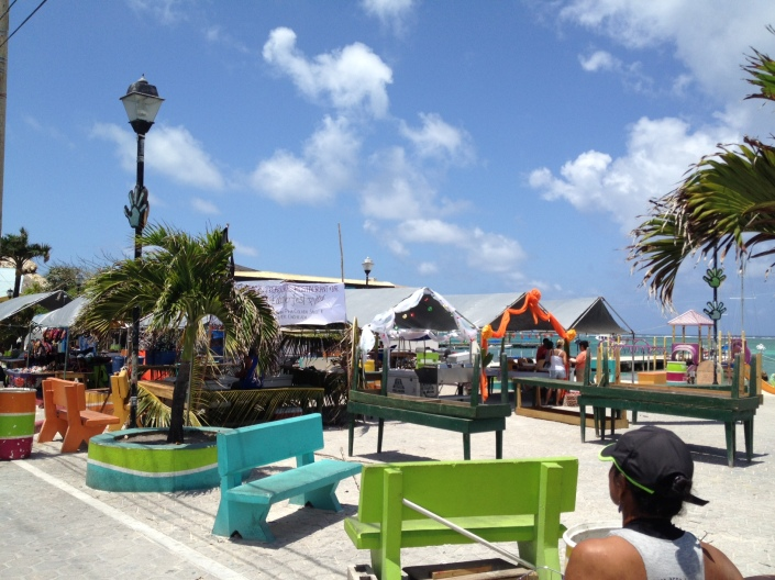 Central Park in San Pedro, Ambergris Caye, Belize was buzzing with activity at noon today as the park is readied for tonight's LobsterFest Festival.