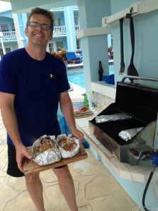 Steve Hollingsworth fires up some fresh barracuda on the grill.