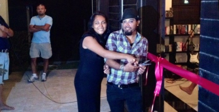 Valentino de Caliz and his sister Celina, who will serve as manager, open Cafe Valentino for business last night at The Hotel.
