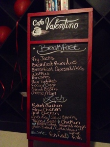 Breakfast and lunch menu at Cafe Valentino.