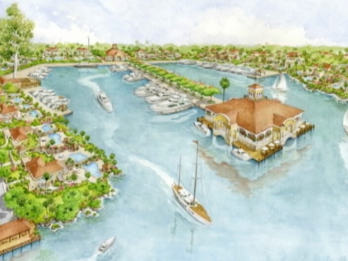 Artist rendering detail of developers' vision for Puerto Azul on the  on the islands of Northern Caye and Sandbore, at the north end of Lighthouse Atoll.