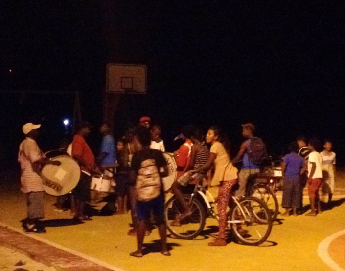 Friday night in Boca del Rio Park, a drum crew rehearses on the basketball court in front of an appreciative audience.