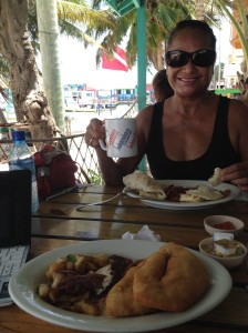 A late breakfast at Estel's for Rose and me. Nothing made us feel quite like we're back home like eggs over easy and fryjacks.