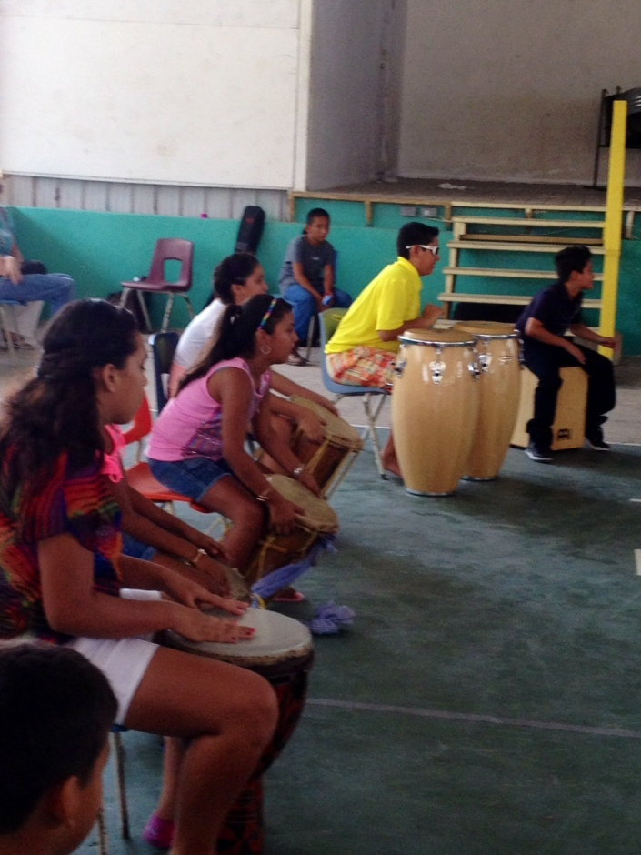 Drums and percussions keep the beat on graduation day, San Pedro Summer Music Academy.