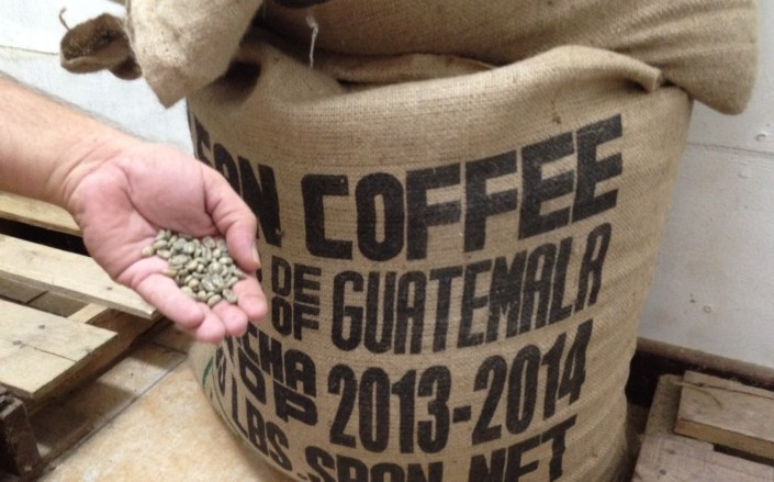 The green beans from Guatemala are kepts in cool storage in 150-pound sacks. Caye Coffee roasts the beans in small, 30-pound batches at varying lengths of time and temperature to attain their three products: Front Street, Middle Street and Back Street.