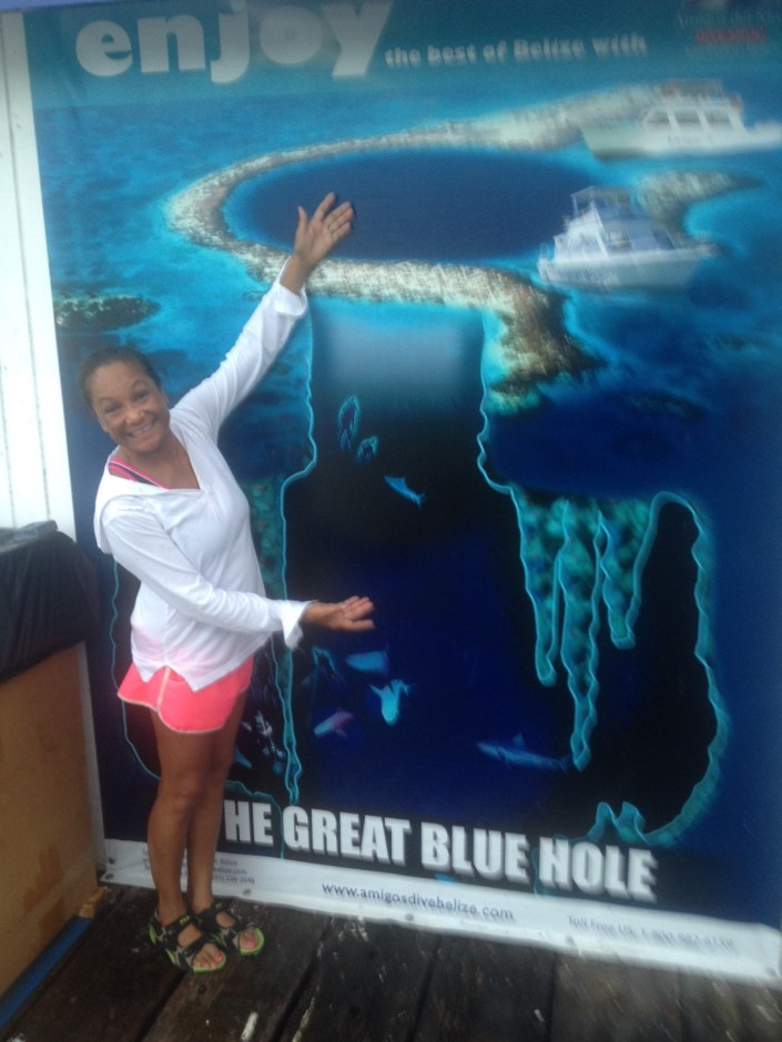 Rose checks out the cross-sectional view of the Blue Hole and finds no sign of a prehistoric monster so, yes, our snorkeling trip is on! Whew.