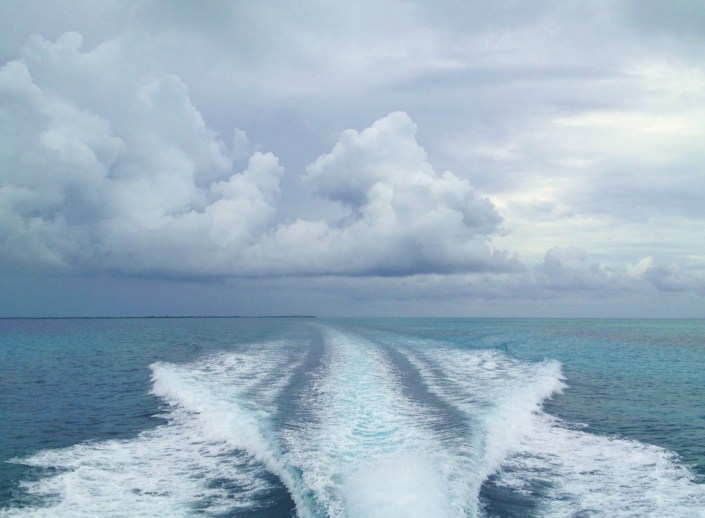 Heading back to San Pedro after a three-session snorkeling dive around the Blue Hole on a mostly overcast day. Which was beautiful in its own special ways.
