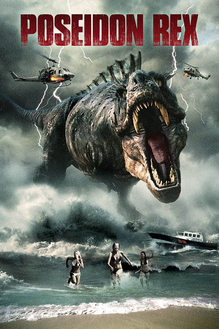 "Movie poster for the made-in-Belize movie ""Poseidon Rex."" The Mama Rex seems to  acquire a taste for bikini-clad tourists during her rampage."