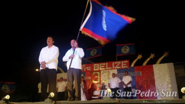 Mayor Danny (left) during Independence Day ceremonies Saturday night.
