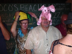 ... and let this be a warning to anyone else who wants to leave. You will be forced to wear funny hats and recite 10 Monty Python jokes from memory before you can get off the island! Actually the hats were part of an obscure New Foundland ritual involving kissing of a fish, Skreech rum and recitation of many verses -- all adapted for Belize. Well, it is a farewell they won't soon forget. Nor will we.