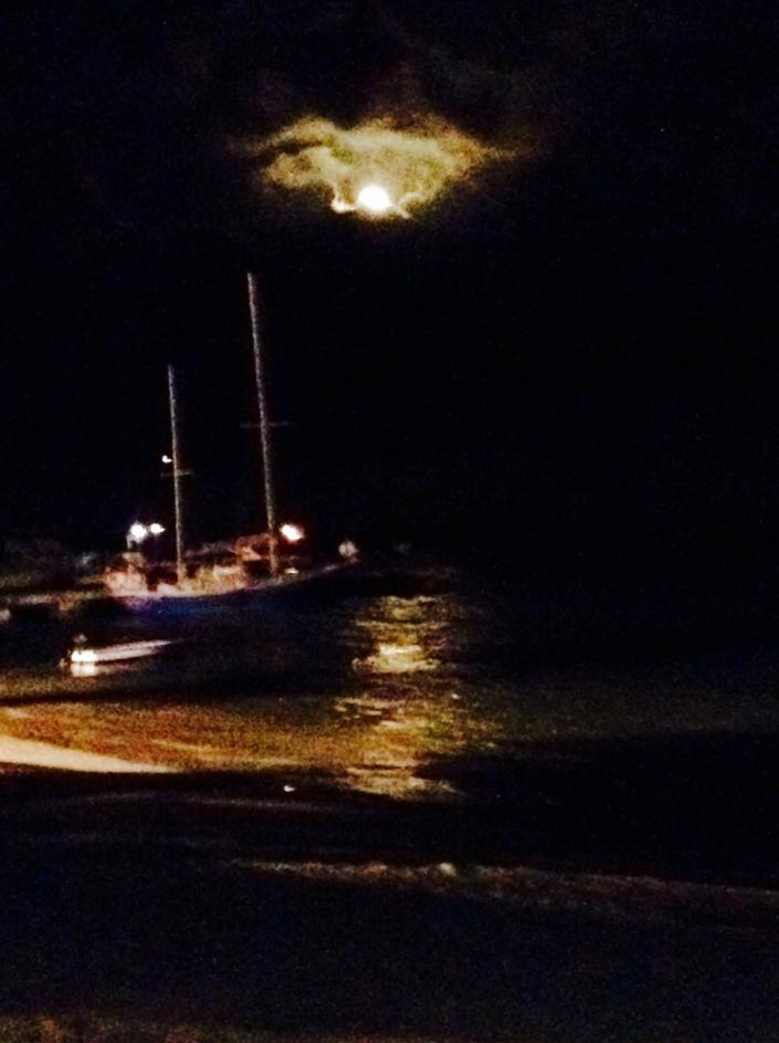 Full moon over San Pedro, Belize.