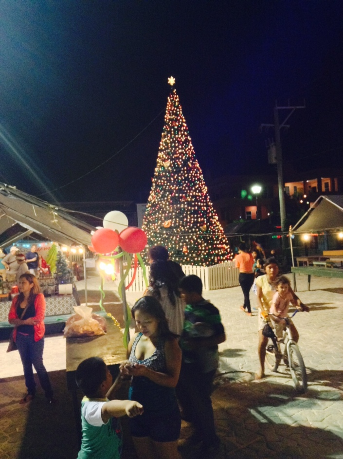 Belizeans love to celebrate almost anything. Naturally they go for Christmas in a big way. This is the town Christmas tree in Central Park on the night of the annual holiday boat parade.