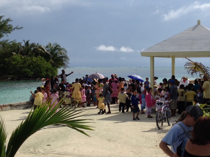School children and their parents recently celebrated Garifuna Day in a San Pedro park. Garifunans are African-Caribbeans who arrived in what is now Belize by boat in the late-1700's.