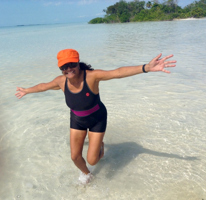 Rose Alcantara breaks out in her happy dance in six inches of water.