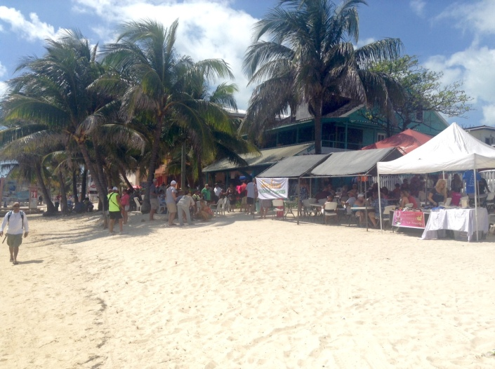 A view of the full house at Estel's from the beach.