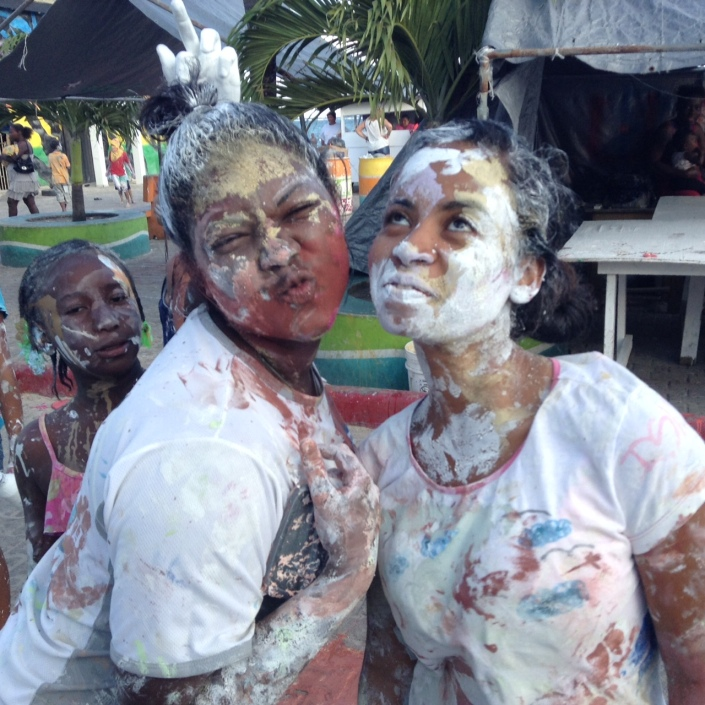 Carnaval 2015 begins in San Pedro Town, Ambergris Caye, Belize. Paint wars by kids and tomorrow and Tuesday, the adults, is a big part of it all.