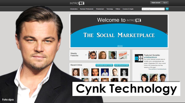 "Cynk Technology promised a social media site that connected celebrities to businesses and individuals. Using Leonardo ""Wolf of Wall Street"" Di Caprio's image shows a great sense of humor, at least."