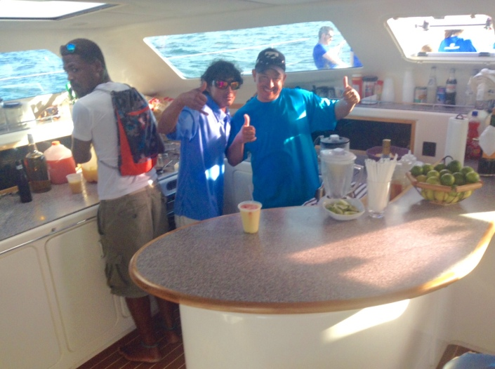 The cabin crew kept the Belikin and rum punch flowing.