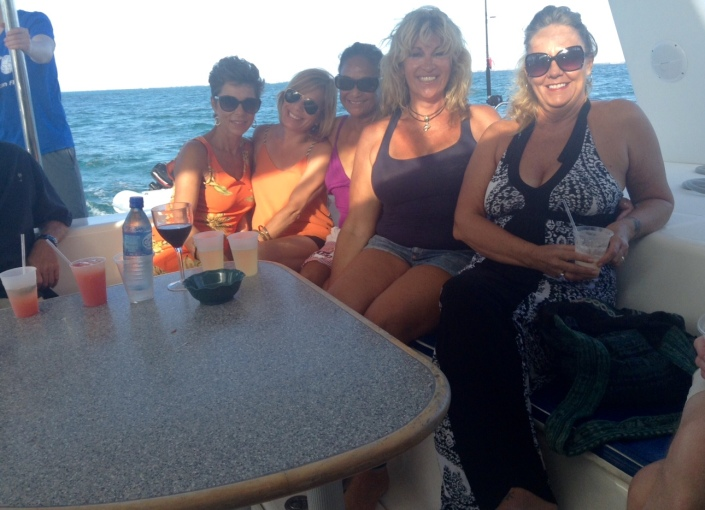 Give us this day our crew of hot women aboard a Belizean boat! From left, Marlene, Rachel, Rose, Gaylynn and Barbara on Ecologic Divers sunset cruise.