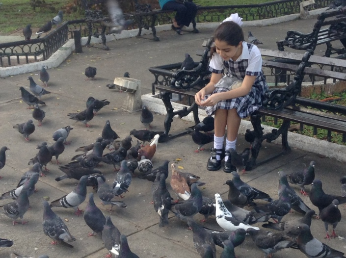 A young schoolgirl keeps the pidgeon population happy in Parque de Santiago on Calle 72 in Merida, Yucatan, Mexico.