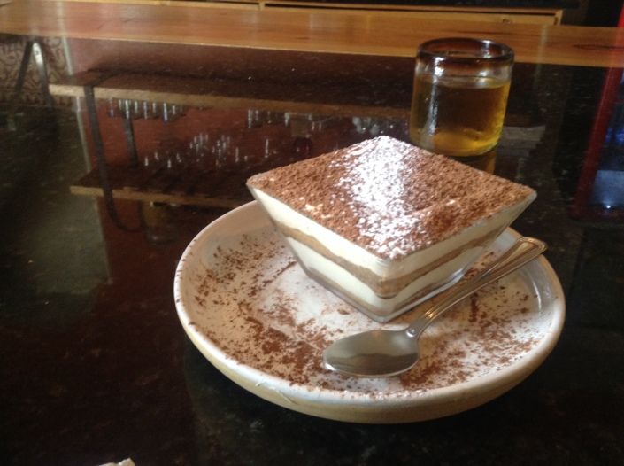 Tiramisu as served at Oliva, an exquisite little Italian restaurant in Merida.