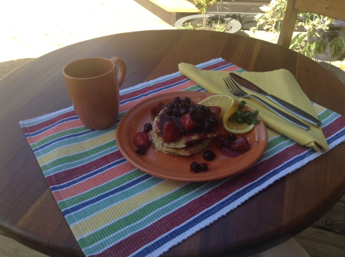 Lemon-ricotta pancakes were served outdoors in the shade with a nice glimpse of the Caribbean Sea on the side.