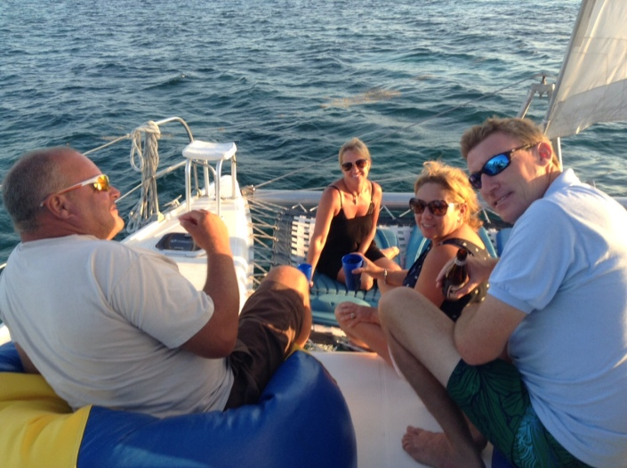 One of the most delightful things to do in San Pedro is climb aboard a catamarant for a sunset sail with a collection of good friends -- and soon-to-be friends.
