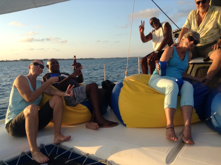 Yo ho ho and a bottle of rum punch, aboard the Lady Leslie for a sunset sail.