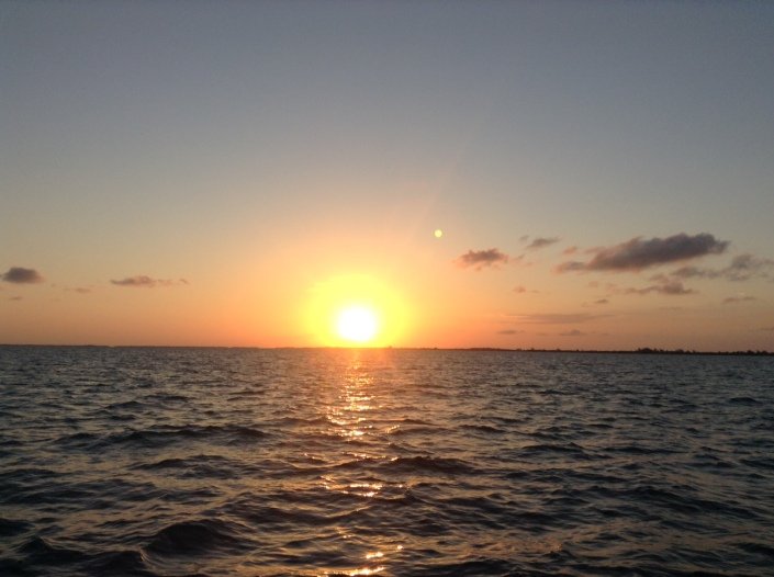 Sunset over Ambergris Caye, aboard the Lady Leslie catamaran.