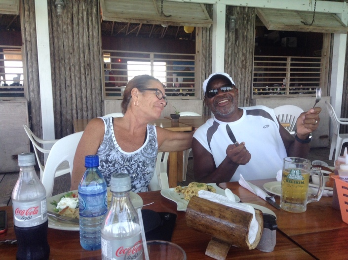 Chunky and Ruthie at a farewell lunch at the over-the-water Bistro Di 'Vu in San Pedro, Belize.