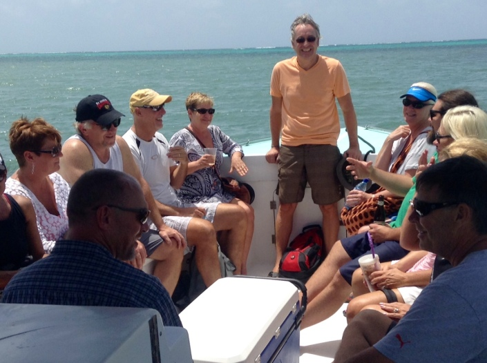 Steve Blair informs that gang that I won't be driving the boat, that I won't be dropping them off on a dock, and that I certainly won't be taking off to park the boat somewhere else on the island. That seemed to put everyone at ease ....