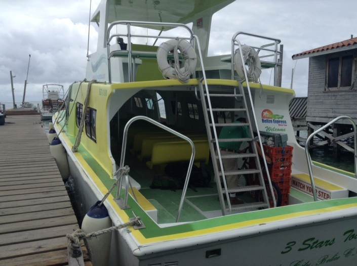 My taxi awaits, for the 90 minute trip to Belize City. Inside seating is best if you are hoping to avoid the wind and rain. Clearly, the best views and wildest ride is up on the bridge with the San Pedro Express boat captain. These guys run on time, by the way.