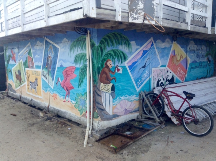 A mural in the main courtyard of Holy Cross Anglican School, in the San Mateo neighborhood of San Pedro, Belize.