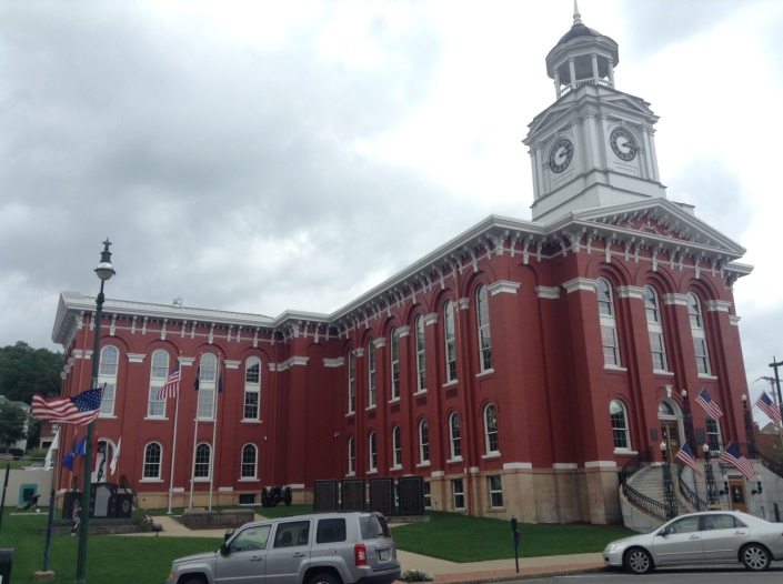The county courthouse on Main Street in Brookville, Pa. Our major public edifice, next to some amazing churches.