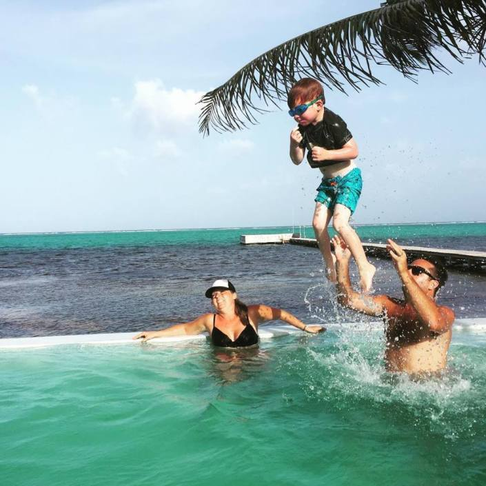 Airborne: With the help of his mom, Cami, and dad, Brendan, Brody takes to the skies over the pool at the Rojo Beach Bar.