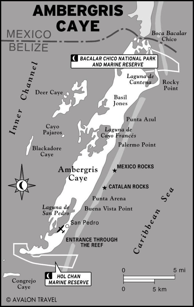 Thank you Rebecca Coutant for this great map of Ambergris Caye. Within two weeks time we have traveled the entire circumference of the 23-mile-long island aboard the C-Monkey.