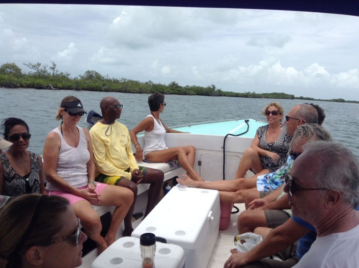 The boat ride out to the sand bar -- cool breeze, blue-green sea and (mostly) blue skies. Life is so good.