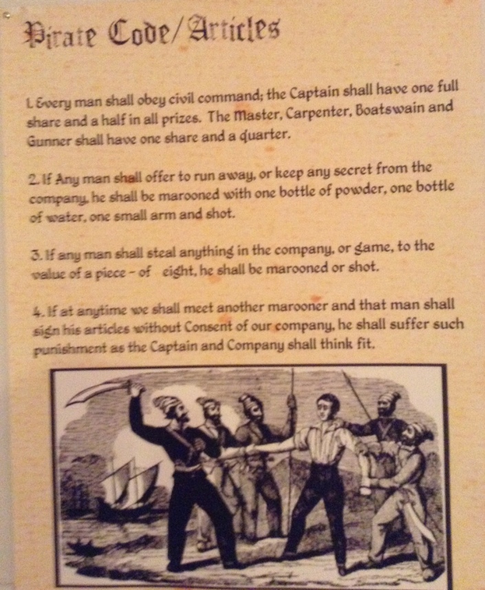 Part of the Pirates code on display at the House of Culture.