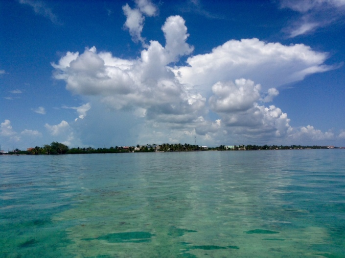 Striking cloud formations on Sunday morning over Ambergris Caye.