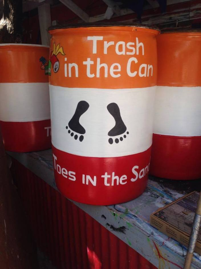 This just in! Our friend Sue Blair has posted this sneak preview of the trash barrels being prepared for the Tres Coco neighborhood by San Pedro.  They are currently getting painted with a design created by our neighbor Juanece Messervy! Thank you, San Pedro!
