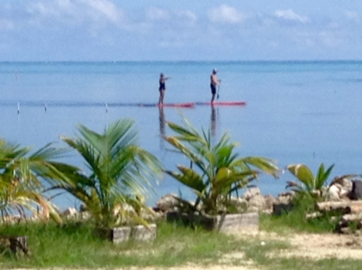 Just another view of the couple stand-up paddling on the incredibly flat Caribbean today. I should be out there, instead of waiting for the golf cart to get fixed.
