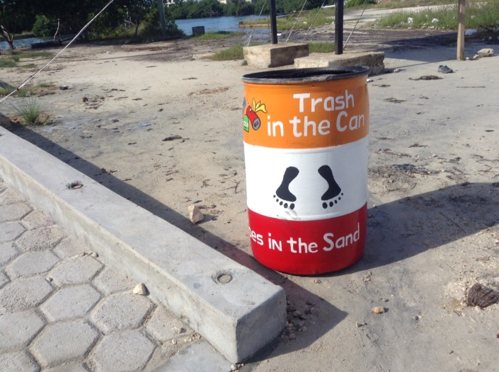 One of the new barrels at the foot of the Sir Barry Bowen Bridge in San Pedro, Belize.